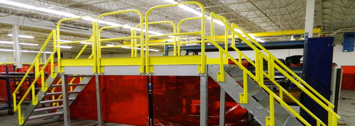 Stair Platforms Help Workers Safety Cross Over Obstacles