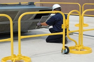 Freestanding Roof Safety Rail System Used for HVAC, Cooling Tower & Fan