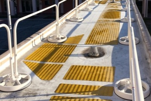 Freestanding Roof Safety Rail System Used for Drain Cleaning & Repair