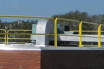 Freestanding Roof Safety Rail for HVAC, Cooling Towers and Fans