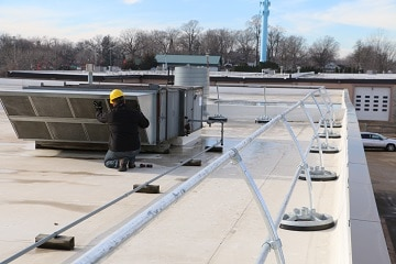 Roof Guardrail with Precise Fit Rail Sections